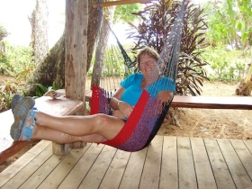 Enjoying the hammock at Playa Bluff Lodge