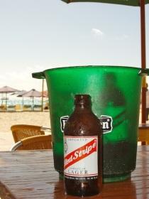 Enjoying a cold one on St. Maarten