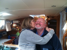 Kissing cousin!  Barb stops by to say Bon Voyage