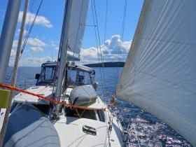 Under sail in Trincomali Channel