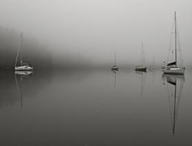 The Sail Alaska fleet on a foggy morning in Bottleneck Inlet