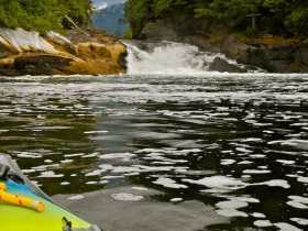 Kayaking in the outflow currents of Verney Falls