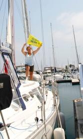 Hoisting our Baja Ha Ha burgee!