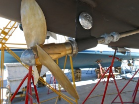 Shiny new zincs and properly aligned and attached propeller!