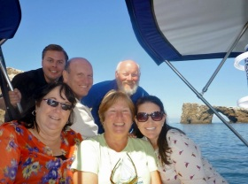 The motley crew out sailing around Anacapa Island