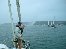 The parade of boats as the Baja Ha Ha begins