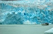 Ice crashing into a milky sea...wow