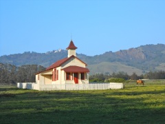 One room schoolhouse in the town of San Simeon, looking up toward Hearst Castle