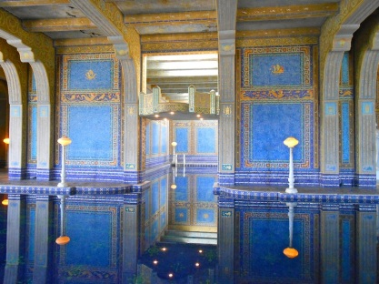 Indoor pool with gold tiles