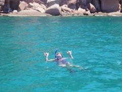Susie snorkles...