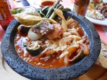 Beef and shrimp molcahete...served boiling hot