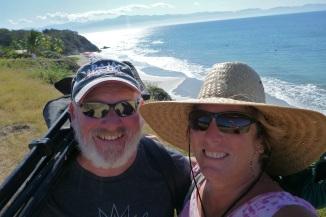 Happy beach goers