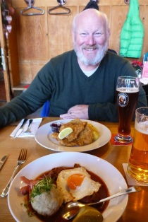 Traditional goulash plate, and schnitzel