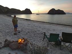 Full moon beach fire in Animas Slot