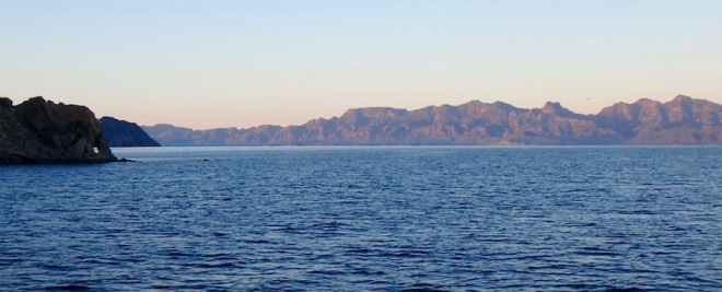 Leaving Puerto Ballandra at sunrise on our way to Loreto