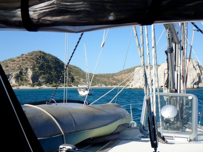 Anchored in Bahia San Juanico with s/v Cake (next to birthday cake rock!)