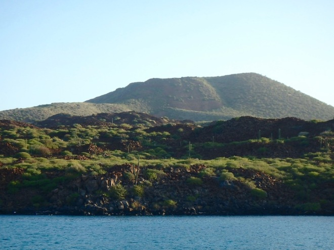 The green hills of Isla Coronados..along with lots of crazy boulder piles