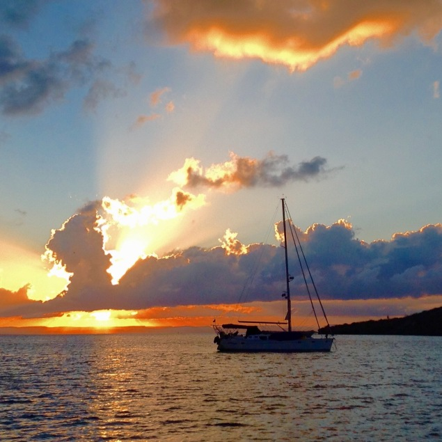 Happy Dance enjoying the sunset in Bahia Falsa...photo credit to s/v Cake!