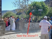 ...being dusted with dirt by the drone..ha!