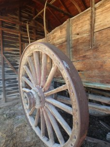 Original conestoga supply wagon, Ft Bridger. That wheel is about 6 feet tall.