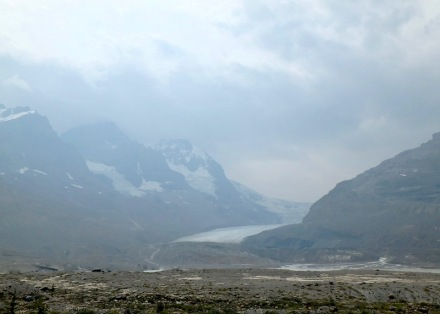 The receding Columbia Icefield hidden in the smoke...