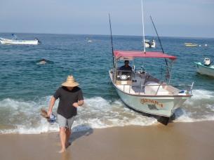 Beaching it between the swells