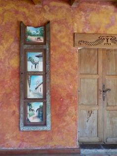 Love the painted doors as artwork
