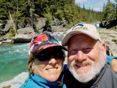 Beautiful creek with selfie people