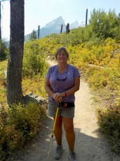 Hiking in the Tetons (note the bear spray!)