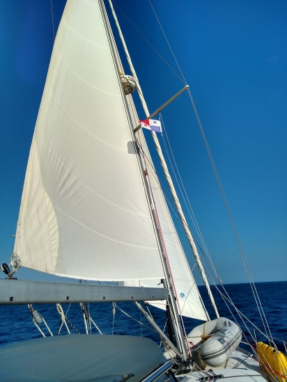 Reducing to the stay sail...sail changes under gusty winds!