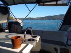 Morning coffee on the hook in Naranjo